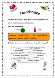 English Worksheets: Palindromes