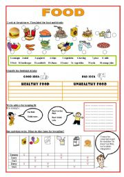 English Worksheet: fOOD- HEALTHY / UNHEALTHY