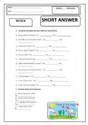 English Worksheets: short anwers