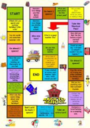 English Worksheet: Board game - Back to school