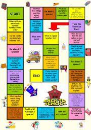 English Worksheet: Board game - Back to school