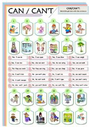 English Worksheet: CAN AND CAN´T  with PRONOUNS