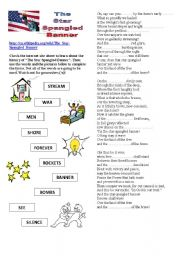 Worksheets Star Spangled Banner Worksheet worksheet the u s anthem english anthem
