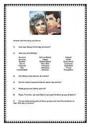 grease  first day of school  this exercise discuss the feelings the students