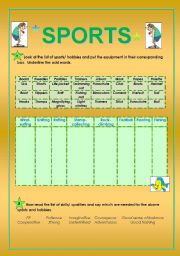 English Worksheet: Sports, equipment and qualities