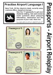 English Worksheet: No.1 - AIRPORT/HOLIDAY LANGUAGE GAME - 17 Passports - Roleplay - Practise speaking at check-in, customs, waiting area