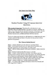 Job Interviews - Student Role Play - English Speaking  Practice - Procedure Explained, Question Sheet and Suggested Answers
