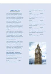 English Worksheet: Big Ben- reading comprehension