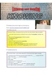 Listening and Reading comprehension -- film trailer Knowing