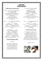 English Worksheet: Billie Jean Michael Jackson -SIMPLE PAST SONG
