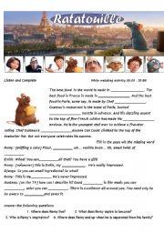 English Worksheet: Ratatouille - Movie Worsheet 1/4 + Key ( 4 pages ) 00:00-30:00