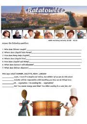 Ratatouille - Movie Worsheet  2/4 + Key ( 2 pages ) 30:00-40:00