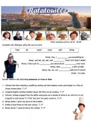 Ratatouille - Movie Worsheet 3/4 + Key ( 2 pages ) 40:00-60:00