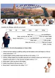 Ratatouille - Movie Worsheet 3/4 + Key ( 2 pages ) 40:00-60:00