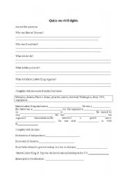 English worksheet: a test on civil rights