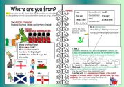 English Worksheet: Where are they from? Basic forms of BE+UK countries and nationalities