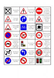 English Worksheet: Road sign dominoes