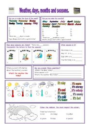 English Worksheet: days, months, seasons, weather