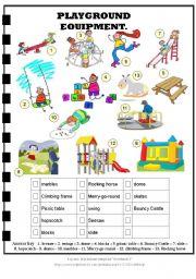 Playground Equipment + Answer Key
