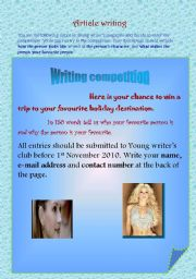 English Worksheet: Article writing
