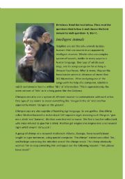 English Worksheet: Intelligent Animals- reading comprehension