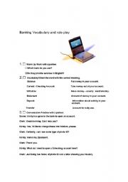 English Worksheets: Role play and conversation Banking