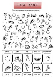 food how many a simple worksheet where children have to count food and ...