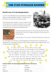 Worksheets Star Spangled Banner Worksheet worksheet the star spangled banner english banner