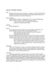 English Worksheet: Inference & Observation 2 Week Unit With Culminating Class Project