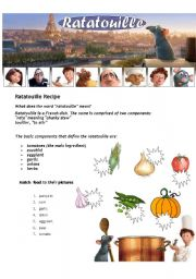 Ratatouille - Movie Worsheet  ( 2 pages )