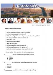 Ratatouille - Movie Worsheet 4/4 + Key ( 3 pages ) 60:00-90:00