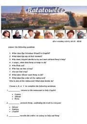 Ratatouille - Movie Worsheet 4/4 + Key ( 3 pages ) 60:00-90:00