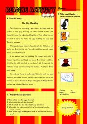 English Worksheet: Reading-The Ugly Duckling
