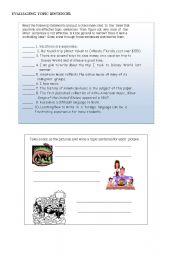 English Worksheets: Evaluating topic sentences
