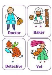English Worksheet: Flash-cards - Jobs