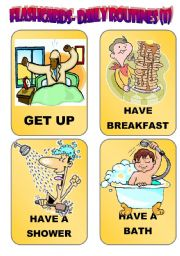 English Worksheets: DAILY ROUTINES: FLASH-CARDS (1)