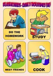 English Worksheets: DAILY ROUTINES: FLASH-CARDS (2)