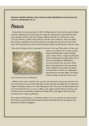English Worksheet: Mystery of the Nazca desert- reading comprehension