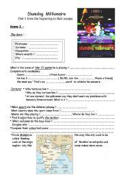 English Worksheet: slumdog millionaire : worksheets on the movie ( 1/2)