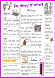 English Worksheets: the history of mirrors