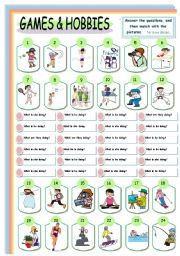 English Worksheets: Games and Hobbies: 1of 3
