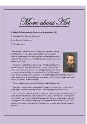 English Worksheets: More about Art- reading comprehension