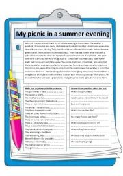 English Worksheet: my picnic in a summer evening