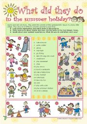 English Worksheet: What did they do in the summer holiday?