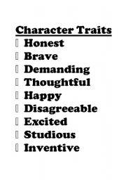 English Worksheets: Character Traits Signs