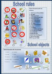 English Worksheet: School rules and school objects