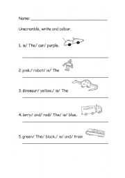 English Worksheets: unscrambled sentences
