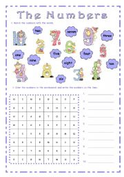 English Worksheets: THE  NUMBERS ~ 1 to 10