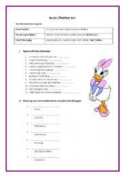 English Worksheet: So do I / Neither do I