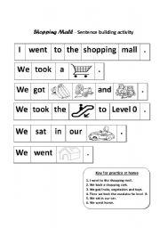 shopping mall sentence building activity esl worksheet by snehi. Black Bedroom Furniture Sets. Home Design Ideas